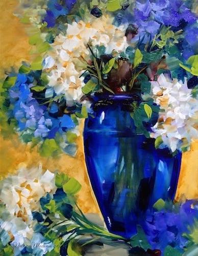 """SOLD ~ Simple Moments White and Blue Hydrangeas by Floral Artist Nancy Medina"" original fine art by Nancy Medina"