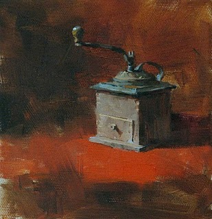 """Old Time for Coffee --- Sold"" original fine art by Qiang Huang"