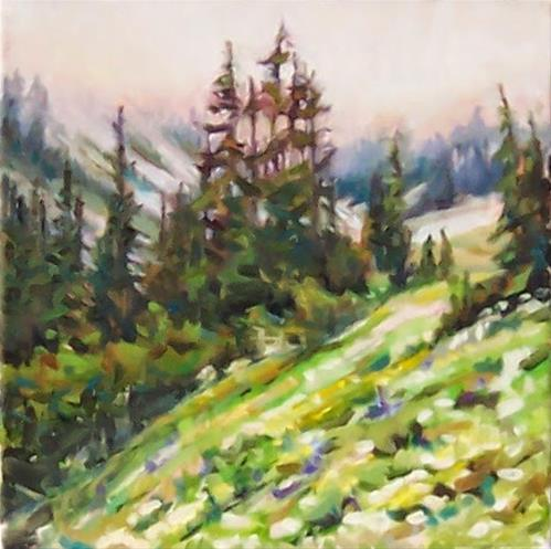 """Foggy Mountain,landscape,oil on canvas,12x12,price$575"" original fine art by Joy Olney"