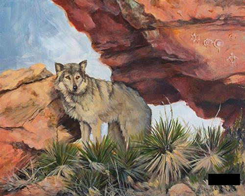 """Wildlife,Wolf Painting IN THE FOOTSTEPS OF THE ANCIENTS by Painter of the American West Nancee Jea"" original fine art by Nancee Busse"