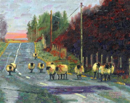 """Sheep on a Road"" original fine art by Donald Curran"