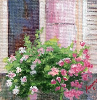 """Geraniums Window Box"" original fine art by Sue Furrow"