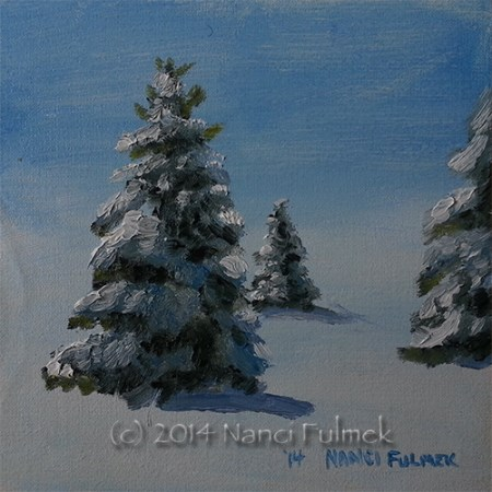 """30 mph winds and snow II"" original fine art by Nanci Fulmek"
