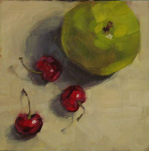 """Pear and Cherries"" original fine art by Rita Kirkman"