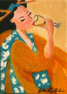 """Drinking"" original fine art by JoAnne Perez Robinson"