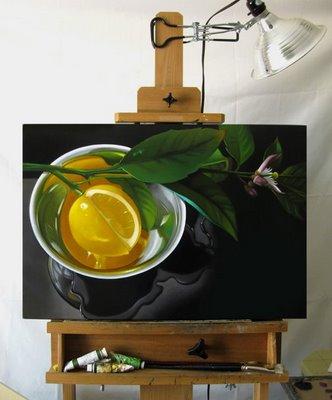 """""""Lemon In Silver 18x28"""" original fine art by M Collier"""