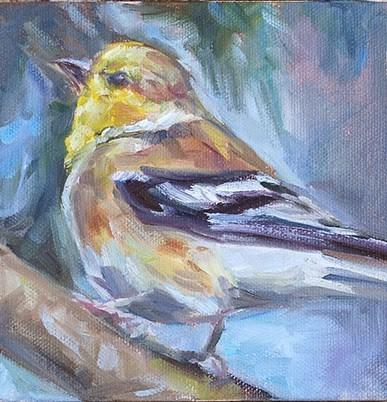 """Yellow Finch, Original oil by Carol DeMumbrum - Day 5"" original fine art by Carol DeMumbrum"