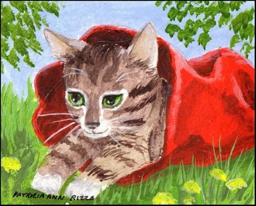 """Kitty in a Bag"" original fine art by Patricia Ann Rizzo"