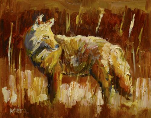 """COYOTE ANIMAL ART OIL PAINTING Diane Whitehead Artoutwest daily painting"" original fine art by Diane Whitehead"