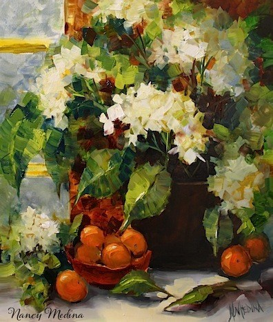 """Breakfast Nook Hydrangeas by Texas Flower Artist Nancy Medina"" original fine art by Nancy Medina"