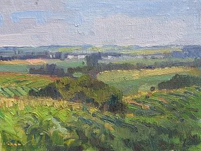 """Corn, Soybeans, Corn_farmland, farms, landscape"" original fine art by V.... Vaughan"