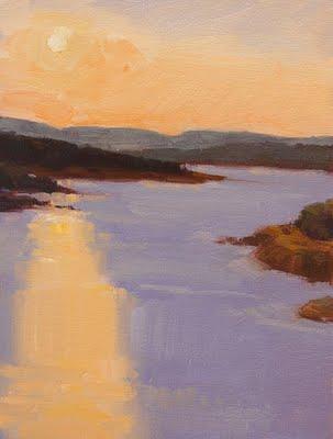 """Lake Travis at Sunset"" original fine art by Laurel Daniel"