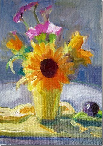 """Sunflower Center, Plum at 9:30 am"" original fine art by Carol Steinberg"