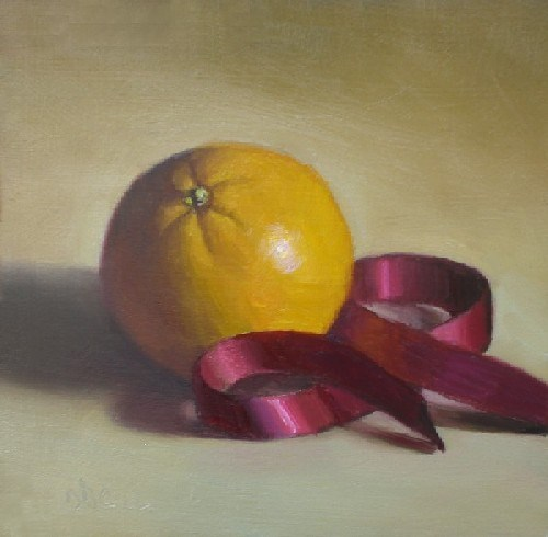 """Orange and Red Ribbon"" original fine art by Debra Becks Cooper"