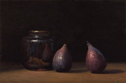 """Two Figs with Tenmoku Ink Bottle No. 2  &  Time Lapse VIDEO"" original fine art by Abbey Ryan"