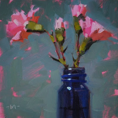 """Reaching Pink"" original fine art by Carol Marine"
