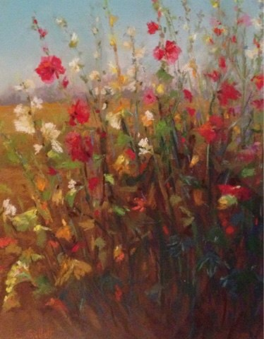 """Roadside Hollyhocks"" original fine art by Cindy Gillett"