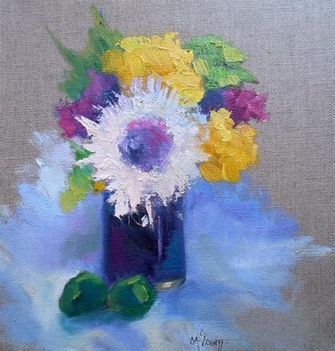 """Floral Still Life on Linen, Daily Painting, Small Oil Painting,  Mary's Vase 9x12 Oil"" original fine art by Carol Schiff"