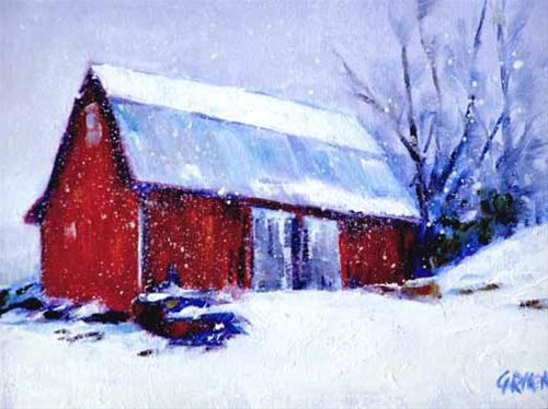 """First Snowfall, 5x7 Oil on Canvas Board"" original fine art by Carmen Beecher"