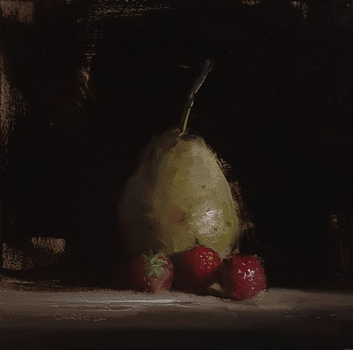 """Pear with Strawberries"" original fine art by Neil Carroll"