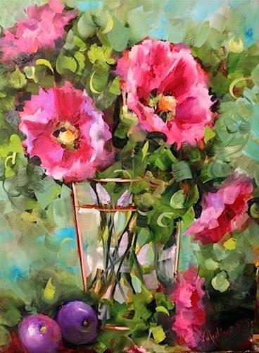 """Day 10 ~ Plums and Hollyhocks by Floral Artist Nancy Medina"" original fine art by Nancy Medina"