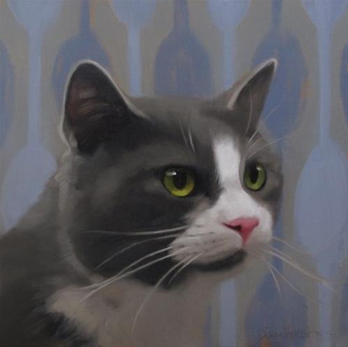 """Gray Tuxedo Cat"" original fine art by Diane Hoeptner"