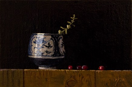 """Blue & White Cup with Cranberries and Eucalyptus"" original fine art by Abbey Ryan"