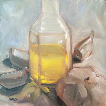 """Garlic and Olive Oil"" original fine art by Elaine Juska Joseph"