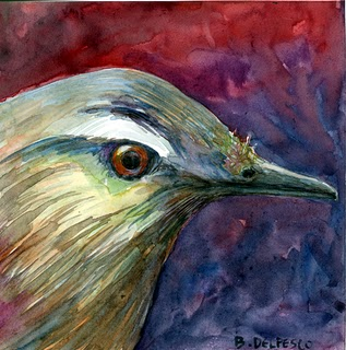 """Watercolor: Bird Profile"" original fine art by Belinda Del Pesco"