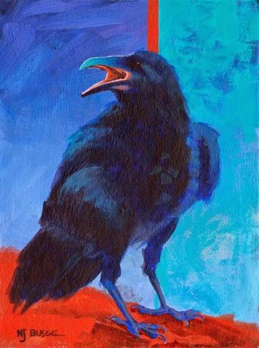"""Raven Bird Art Painting Violet by Colorado Artist Nancee Jean Busse"" original fine art by Nancee Busse"