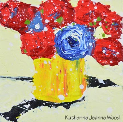 """Red and blue floral mini painting No 163"" original fine art by Katie Jeanne Wood"