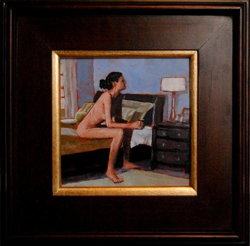 """A Day Off 8x8 oil on copper in accent frame"" original fine art by David Larson Evans"