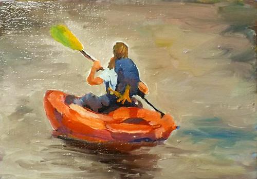 """""""Boating,A13"""" original fine art by Run-      Zhang Zane"""