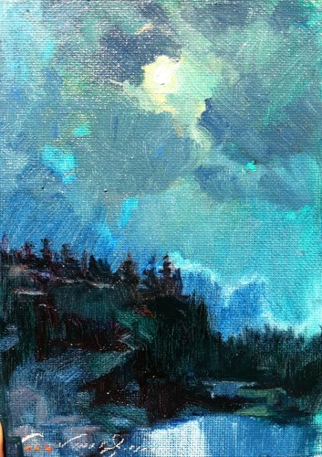 """Colorado Cliff Moonlight"" original fine art by V.... Vaughan"