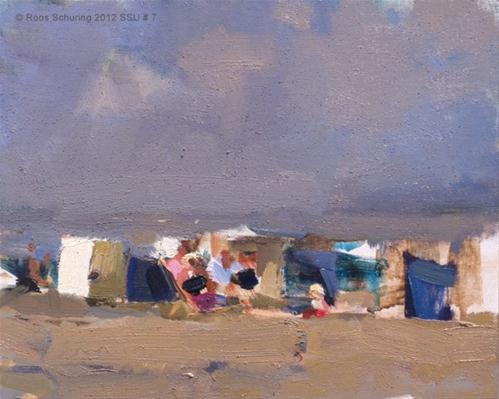 """Seascape summer # 7 Grandparents babysitting - strand"" original fine art by Roos Schuring"