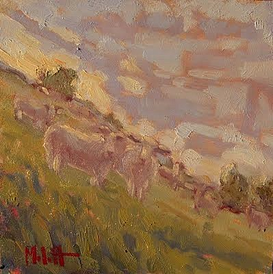 Steep Sheep Lamb Sunset Herd Sheep Art original fine art by Heidi Malott