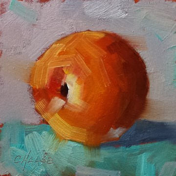 """Peach on Turquoise"" original fine art by Cindy Haase"