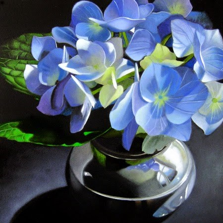 """Blue Hydrangea In Silver 6x6"" original fine art by M Collier"