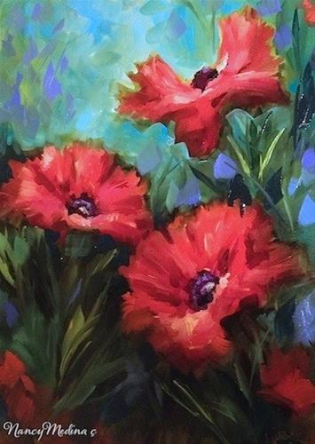 """Tips on Painting Red Poppies by Dallas Arboretum Flower Instructor Nancy Medina"" original fine art by Nancy Medina"