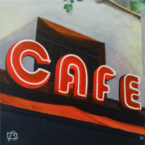 """Neon Cafe Paris"" original fine art by Andre Beaulieu"