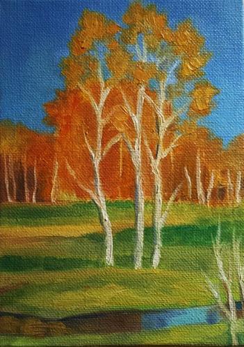 """Golden Trees"" original fine art by J M Needham"