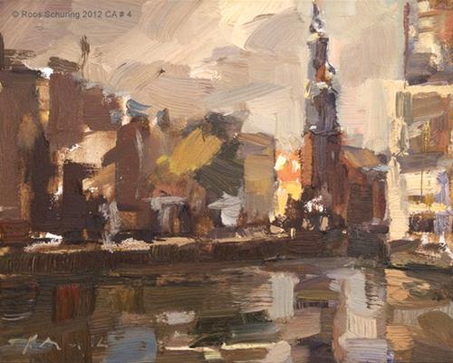 """""""Cityscape Amsterdam #4 Munttoren"""" original fine art by Roos Schuring"""