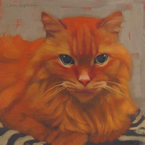 """Heather, long-haired orange cat"" original fine art by Diane Hoeptner"