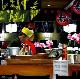 """Sushi Bar"" original fine art by Jelaine Faunce"