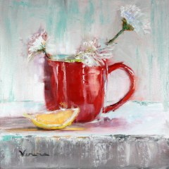 """""""oil painting still life red cup with white flowers and lemon"""" original fine art by Carrie Venezia"""