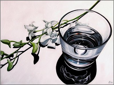 """Refraction Study in White"" original fine art by Jelaine Faunce"
