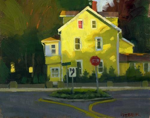 """Yellow house at sunset"" original fine art by Kathy Weber"