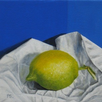 """Lemon on blue, II"" original fine art by Pera Schillings"