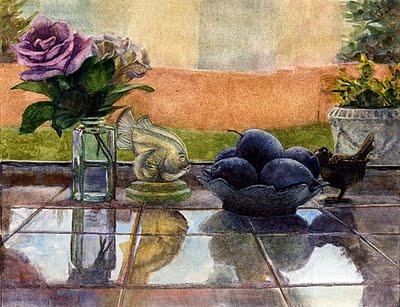 """""""Watercolor: Sabino Fish & Plums"""" original fine art by Belinda Del Pesco"""