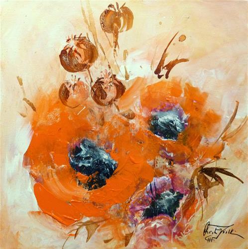 """Mohnblumen –  Poppies"" original fine art by Christa Friedl"